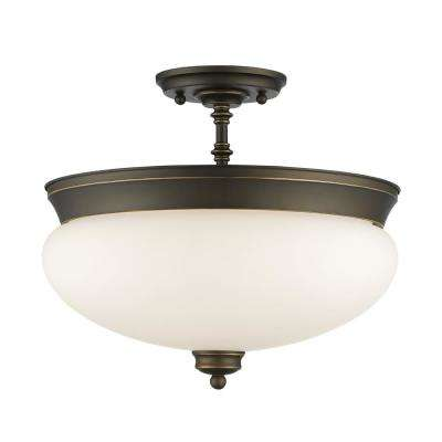 Amonte 3-Light Olde Bronze Semi-Flush Mount with Matte Opal Shade