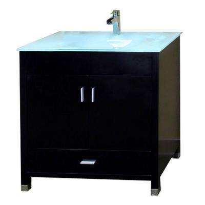 Oslo B 33 in. Single Vanity in Black with Glass Vanity Top in Glacier