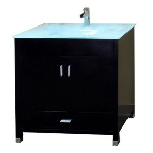 Bellaterra Home Oslo B 33 inch Single Vanity in Black with Glass Vanity Top in Glacier by Bellaterra Home