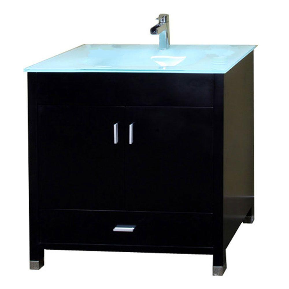 Single Vanity In Black With Glass Vanity Top In Glacier BT3110 B   The Home  Depot