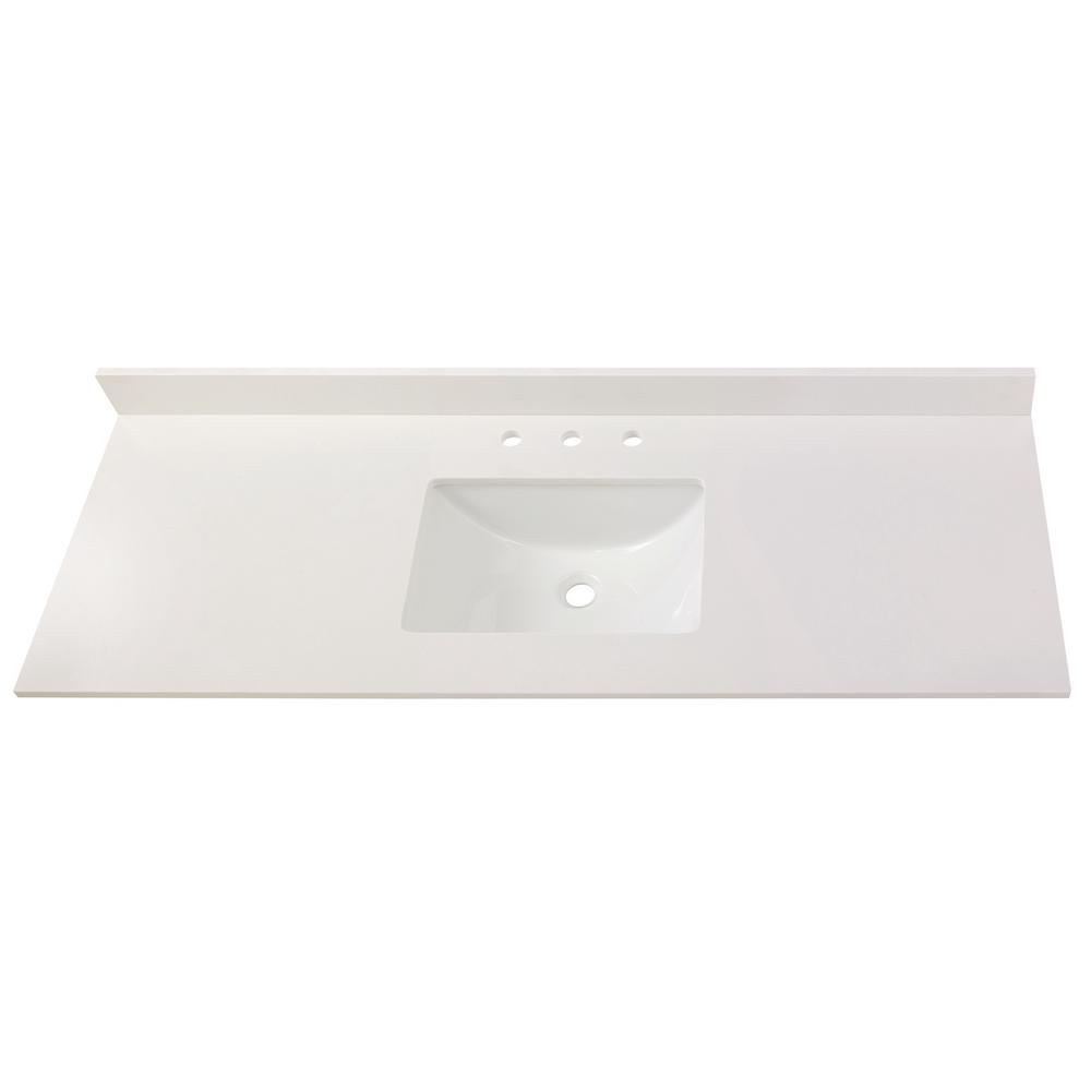 Home Decorators Collection 73 in. W x 22 in. D Engineered Marble Single Trough Sink Vanity Top in Winter White