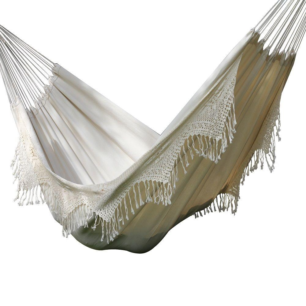 brazilian cotton double hammock deluxe in natural vivere 14 ft  brazilian cotton double hammock deluxe in natural      rh   homedepot