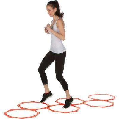 20 in. Orange Hexagonal Speed and Agility Training Rings with Carry Bag (Set of 6)