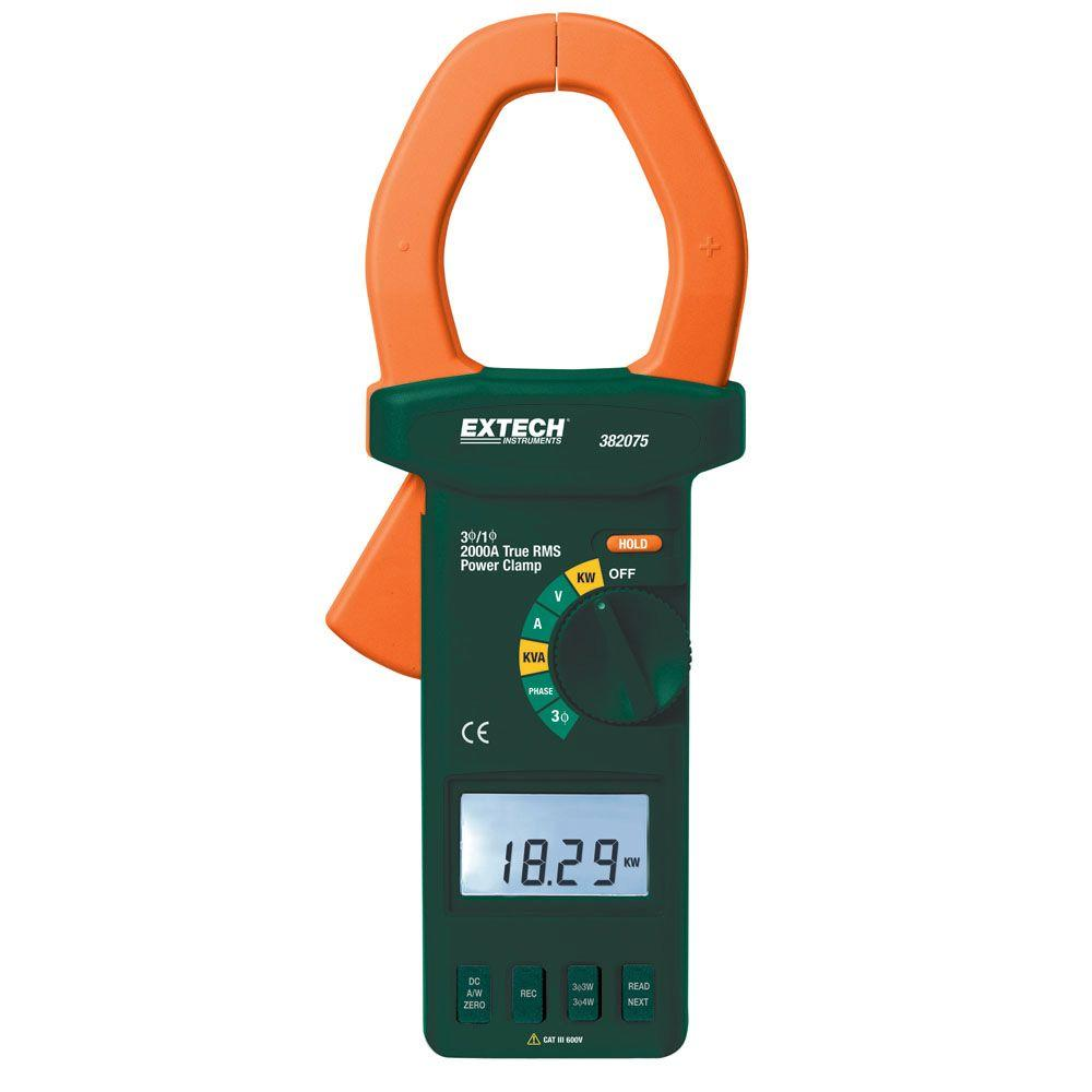 Extech Instruments Manual Clamp Meter Power 3-Phase Analyzer