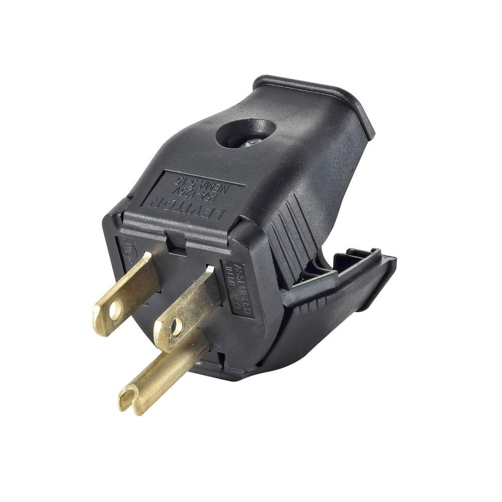 Leviton 15 Amp 125-Volt Double Pole 3-Wire Grounding Plug, Black