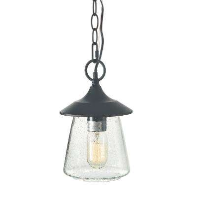 Traditional Black 1-Light Outdoor Hanging Lantern with Seeded Glass Shade