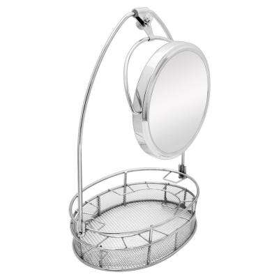 13.5 in. W x 20 in. H Cosmetic Basket Organizer with 5X/1X Mirror in Satin Nickel