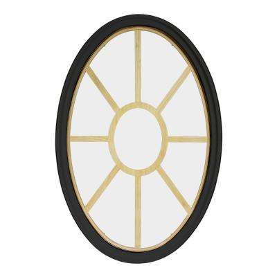30 in. x 48 in. Oval Bronze 4-9/16 in. Jamb 9-Lite Grille Geometric Aluminum Clad Wood Window