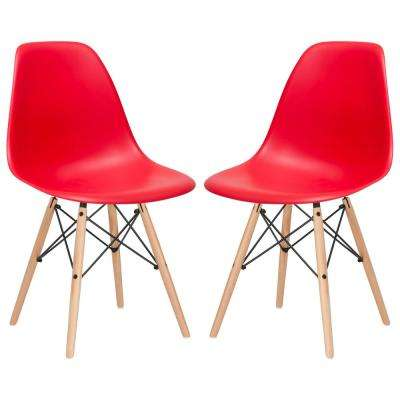 Vortex Red Side Chair With Natural ...