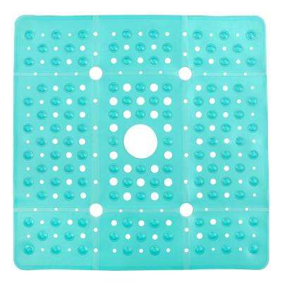 27 in. W x 27 in. L SlipX Solutions Extra Large Square Shower Mat in Aqua