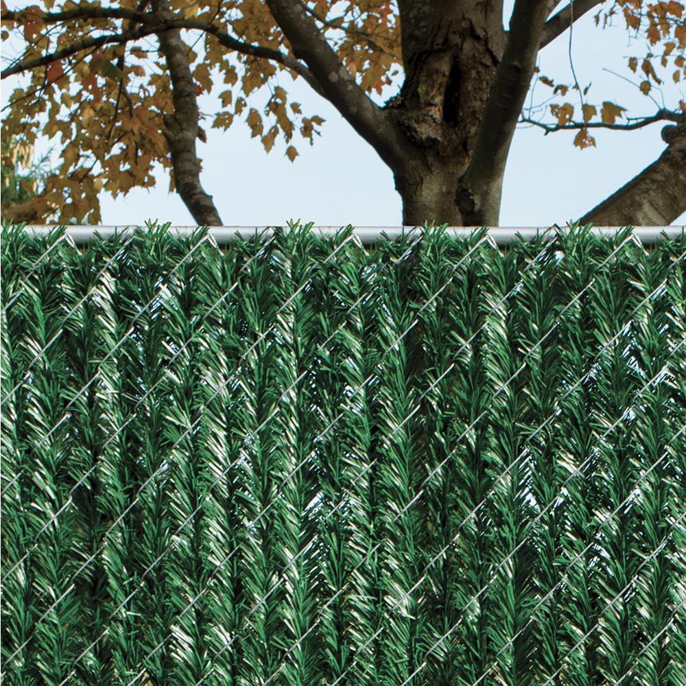 YARDGARD 6 ft  H x 5 ft  W Green Privacy Hedge Slat Vinyl Fence Panel
