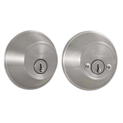 Essentials Double Cylinder Satin Nickel Deadbolt