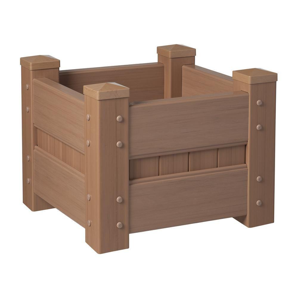 Veranda 24 in. Square Redwood Vinyl Planter Box
