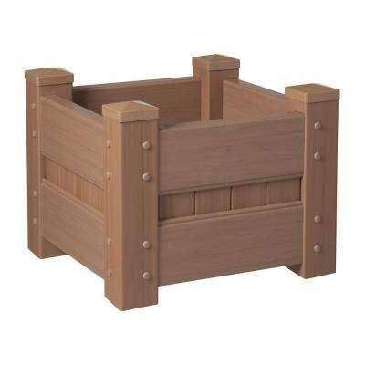 24 in. Square Redwood Vinyl Planter Box