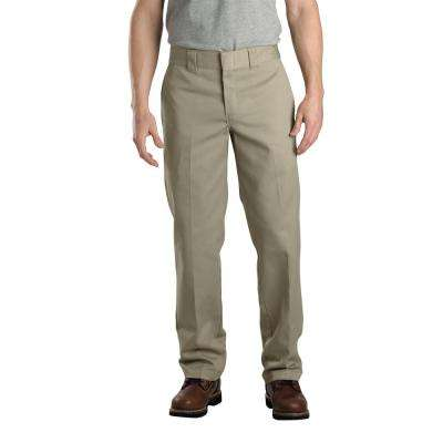 Men's 40 in. x 32 in. Khaki Slim Fit Straight Leg Work Pant