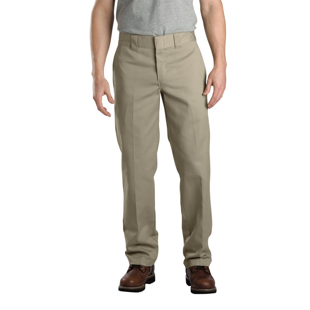 32051262775 Dickies Men's 38 in. x 34 in. Khaki Slim Fit Straight Leg Work Pant ...