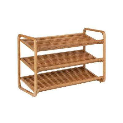 3-Tier 9-Pair Deluxe Shoe Shelves in Bamboo