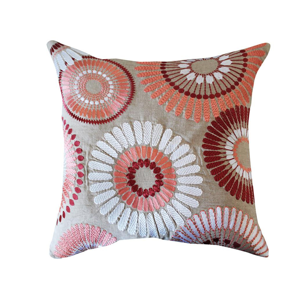 A1HC Pink/Beige Floral 20 in. Cotton Throw Pillow
