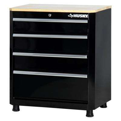 30 in. H x 28 in. W x 18 in. D 4-Drawer Welded Base Cabinet in Black
