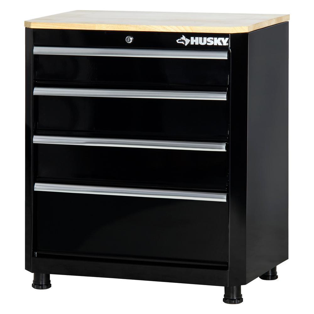 30 in. H x 28 in. W x 18 in. D 4-Drawer Welded Base Cabinet in Black