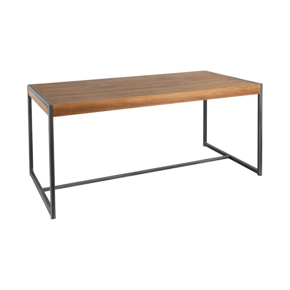 Java Industrial Antique Metal and Brown Teak Wood Dining Table
