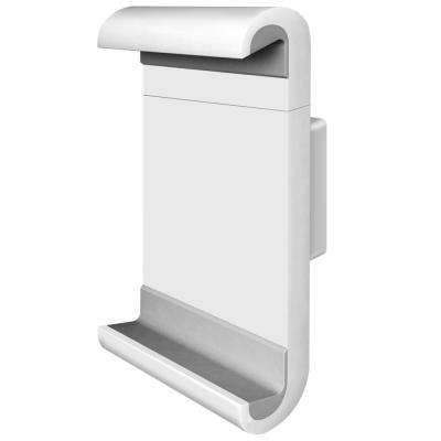 """Barkan 7"""" to 12"""" Fixed Tablet Wall Mount, White, Firm Tablet Clamp, 360° Rotation, Very Low Profile"""