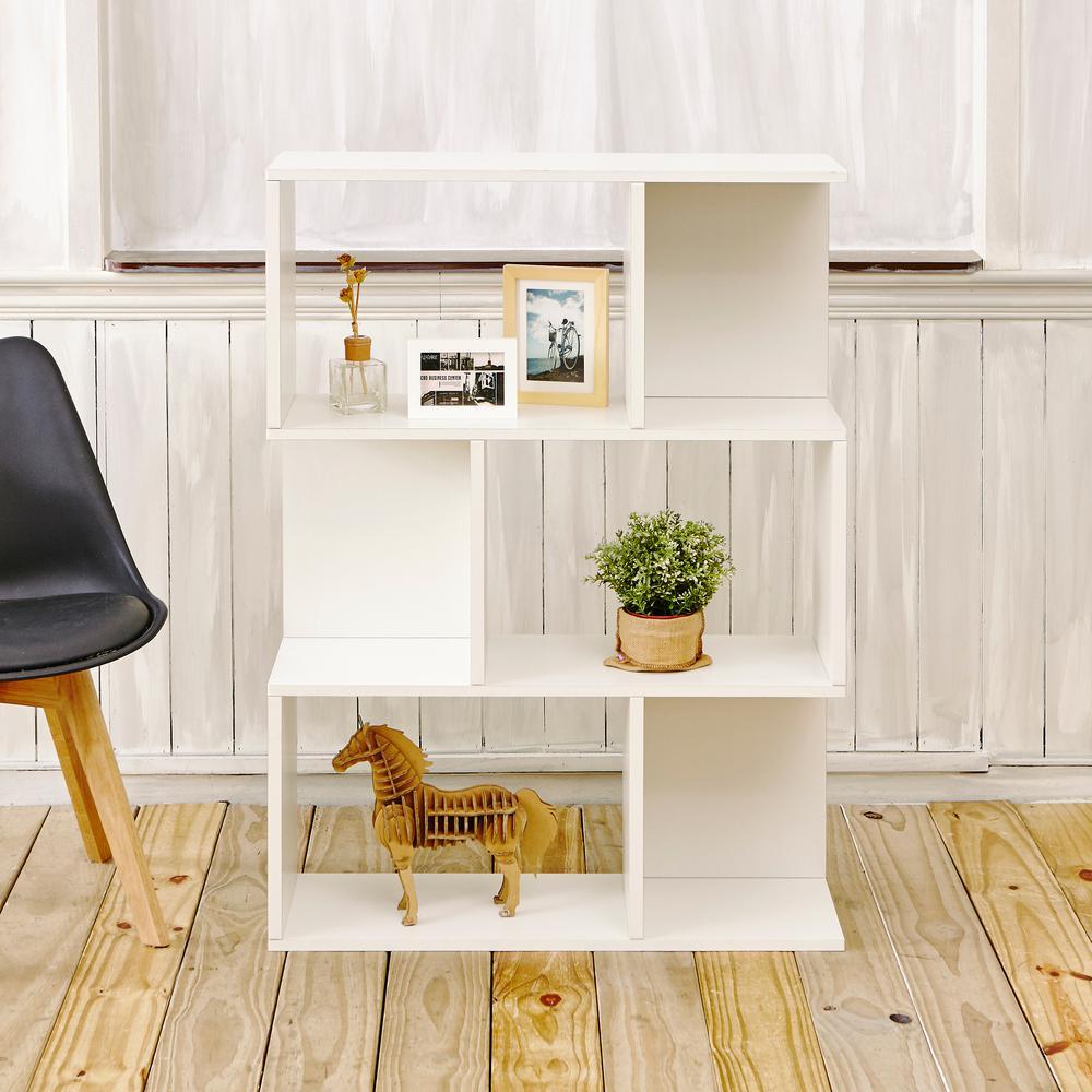 Madison 3 Shelf 11.2 x 32.1 x 44.8 Pearl White zBoard Bookcase, Room Divider, Storage Shelf