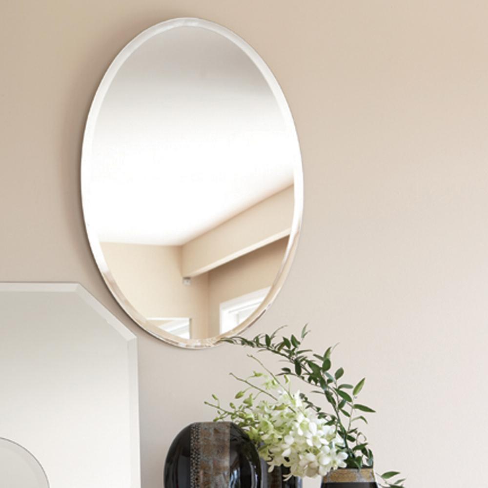 Medium Oval Beveled Glass Mirror (36 in. H x 24 in. W)