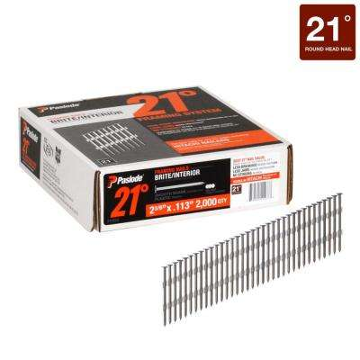 2-3/8 in. x 0.113-Gauge 21° Brite Smooth Shank Plastic Collated Framing Nails 2000 per Box