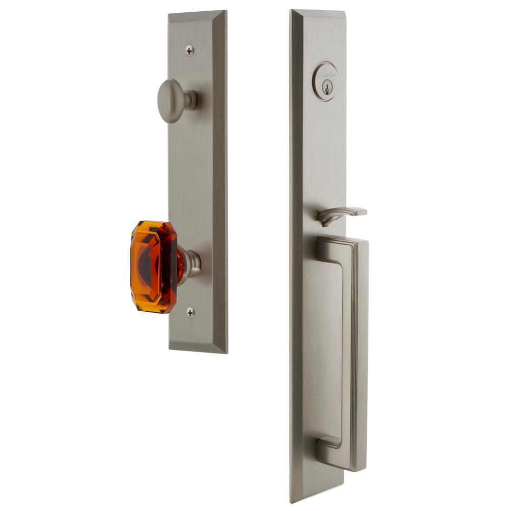 Fifth Avenue 2-3/4 in. Backset Satin Nickel 1-Piece Door Handleset with D-Grip and Baguette Amber Knob