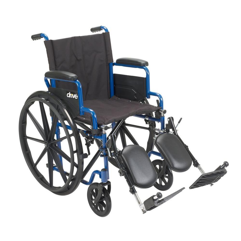 Drive 20 in. Blue Streak Wheelchair with Flip Back Desk Arms and Elevating Leg Rests