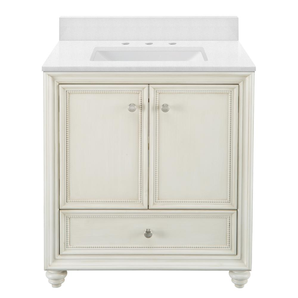 Home Decorators Collection Dellwood 31 in. W x 22 in. D Vanity in Antique White with Engineered Marble Vanity Top in Snowstorm with White Basin