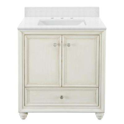 Dellwood 31 in. W x 22 in. D Vanity in Antique White with Engineered Marble Vanity Top in Snowstorm with White Basin