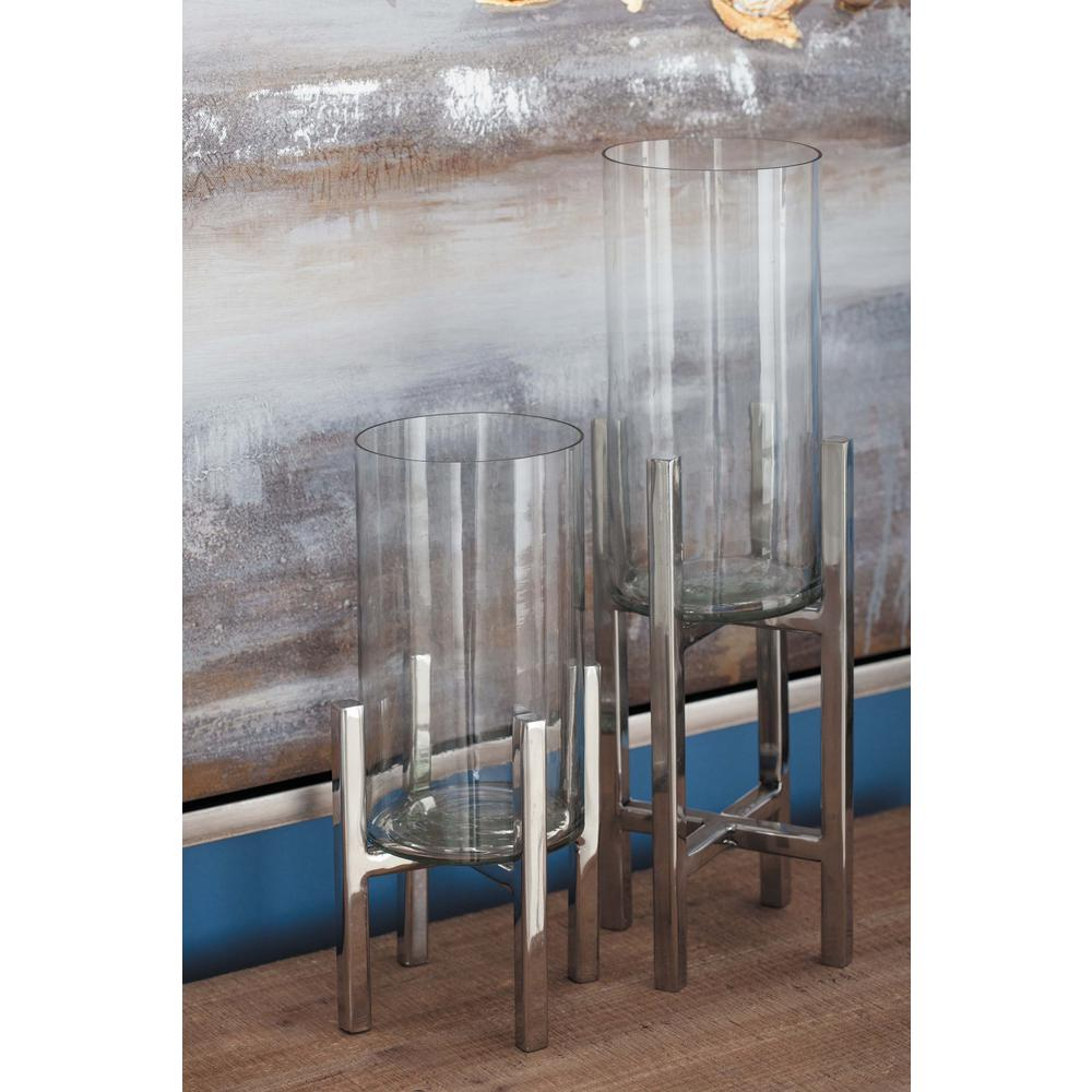 Stainless Steel and Glass Bracketed Candle Holders (Set of 3)
