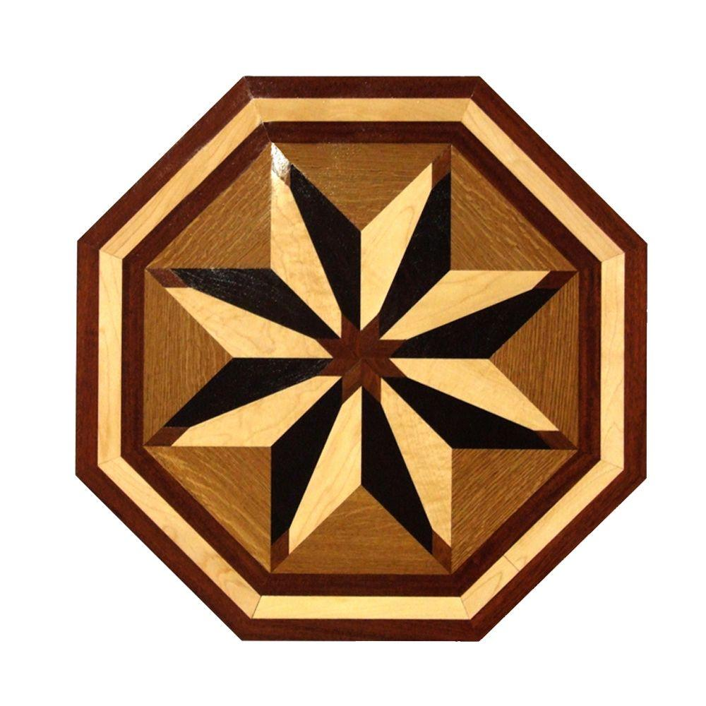 PID Floors 3/4 in. Thick x 24 in. Wide Octagon Medallion Unfinished Decorative Wood Floor Inlay MT004