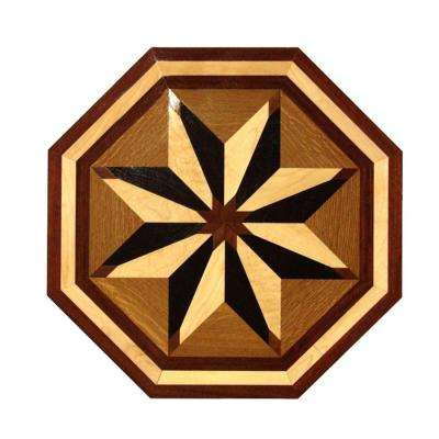 3/4 in. Thick x 24 in. Wide Octagon Medallion Unfinished Decorative Wood Floor Inlay MT004