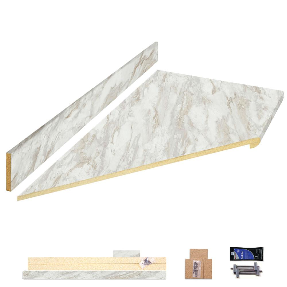 Hampton Bay 8 Ft Laminate Countertop Kit With Left Miter In Drama Marble With Ora Edge 12349kt08l5010 The Home Depot