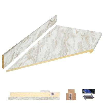 8 ft. Laminate Countertop Kit in Drama Marble with Left Miter and Ora Edge