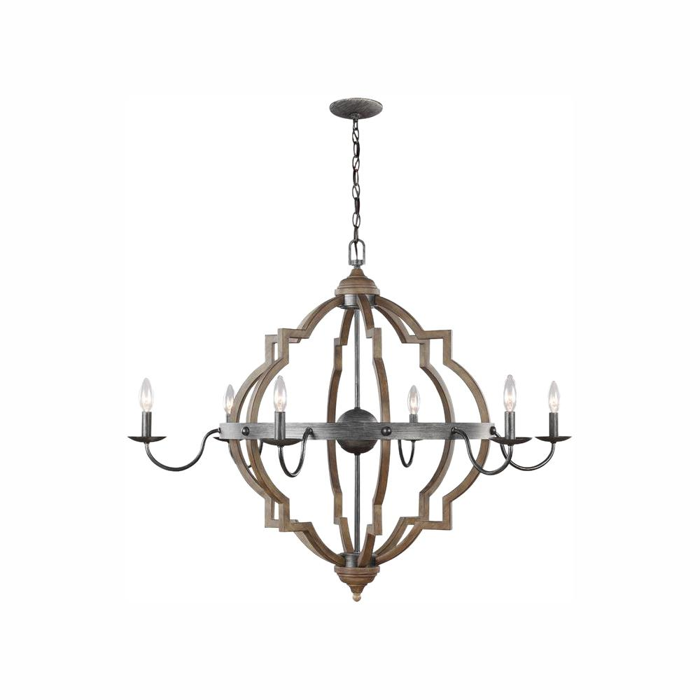 Sea Gull Lighting Socorro 40 in. W. 6-Light Weathered Gray and Distressed Oak Quatrefoil Chandelier with Dimmable Candelabra LED Bulbs