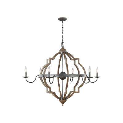 Socorro 40 in. W. 6-Light Weathered Gray and Distressed Oak Quatrefoil Chandelier with Dimmable Candelabra LED Bulbs