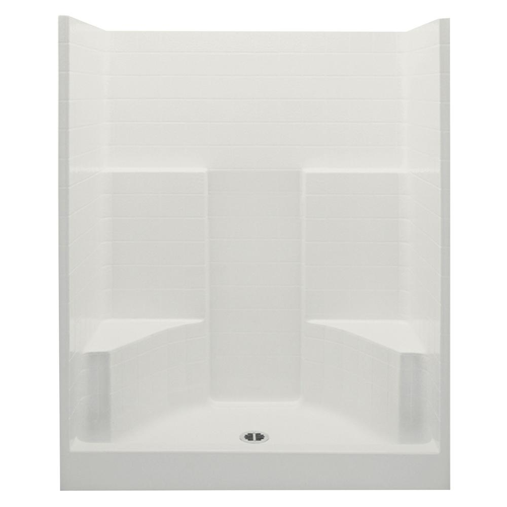 Aquatic Everyday 60 in. x 35 in. x 72 in. 1-Piece Shower Stall with 2 Seats and Center Drain in ...