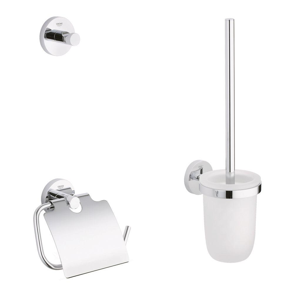 Grohe essentials guest bathroom 3 piece accessory kit in for Bathroom accessories grohe