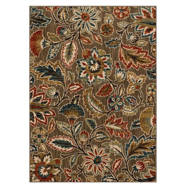 Home Decorators Collection Elyse Taupe 8 Ft X 10 Ft Floral Area Rug 573171 The Home Depot