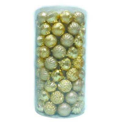 2.3 in. Shatter Proof Ornament Gold (101-Piece)