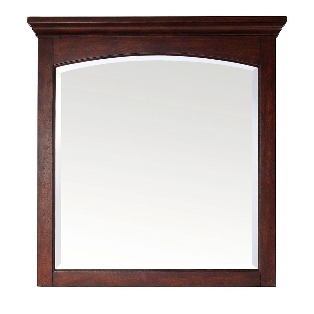 Pegasus Vermont 36 in. W x 38 in. L Birch Mahogany Framed Wall Mirror