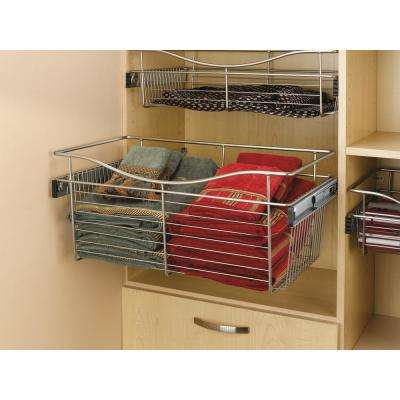 24 in. x 7 in. Satin Nickel Closet Pull-Out Basket