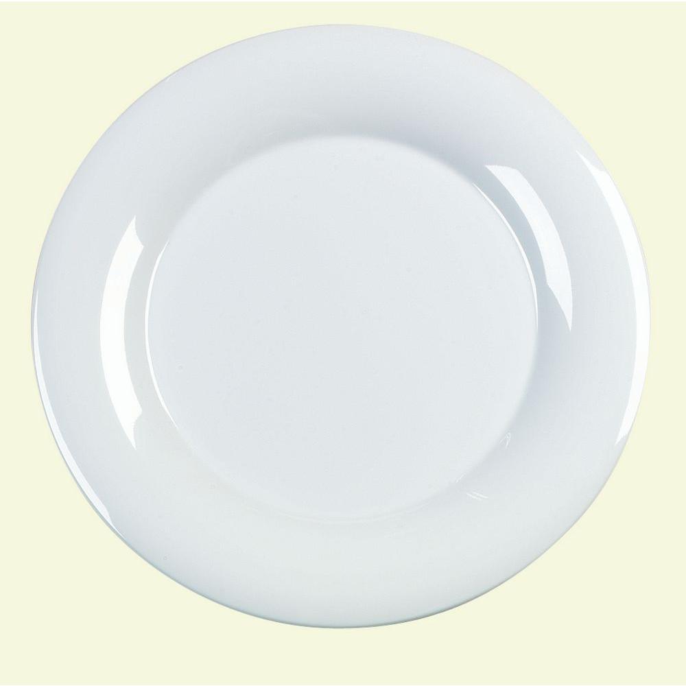 12.0 in. Diameter Melamine Wide Rim Dinner/Display Plate in White (Case