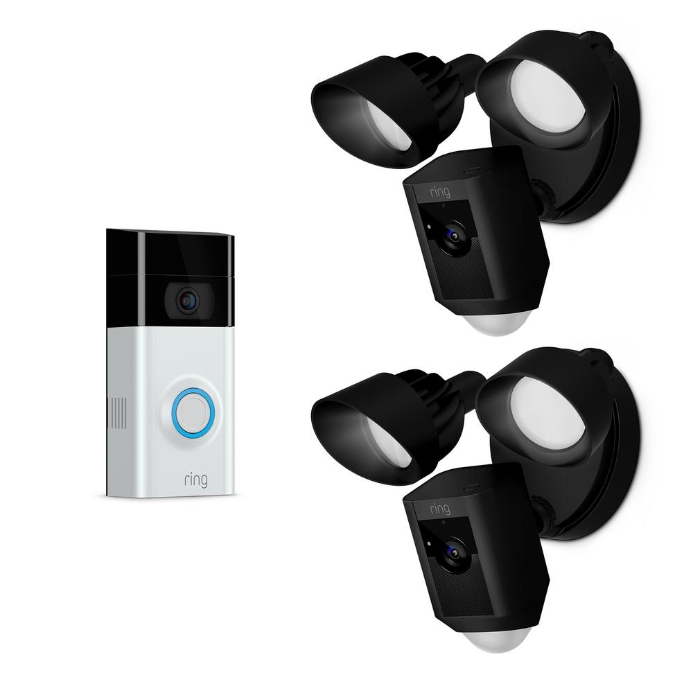 Ring Wireless Video Doorbell 2 with Floodlight Cam Black (2-Pack)