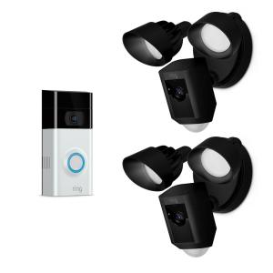 Ring Wireless Video Door Bell 2 with Floodlight Cam Black (2-Pack) by Ring