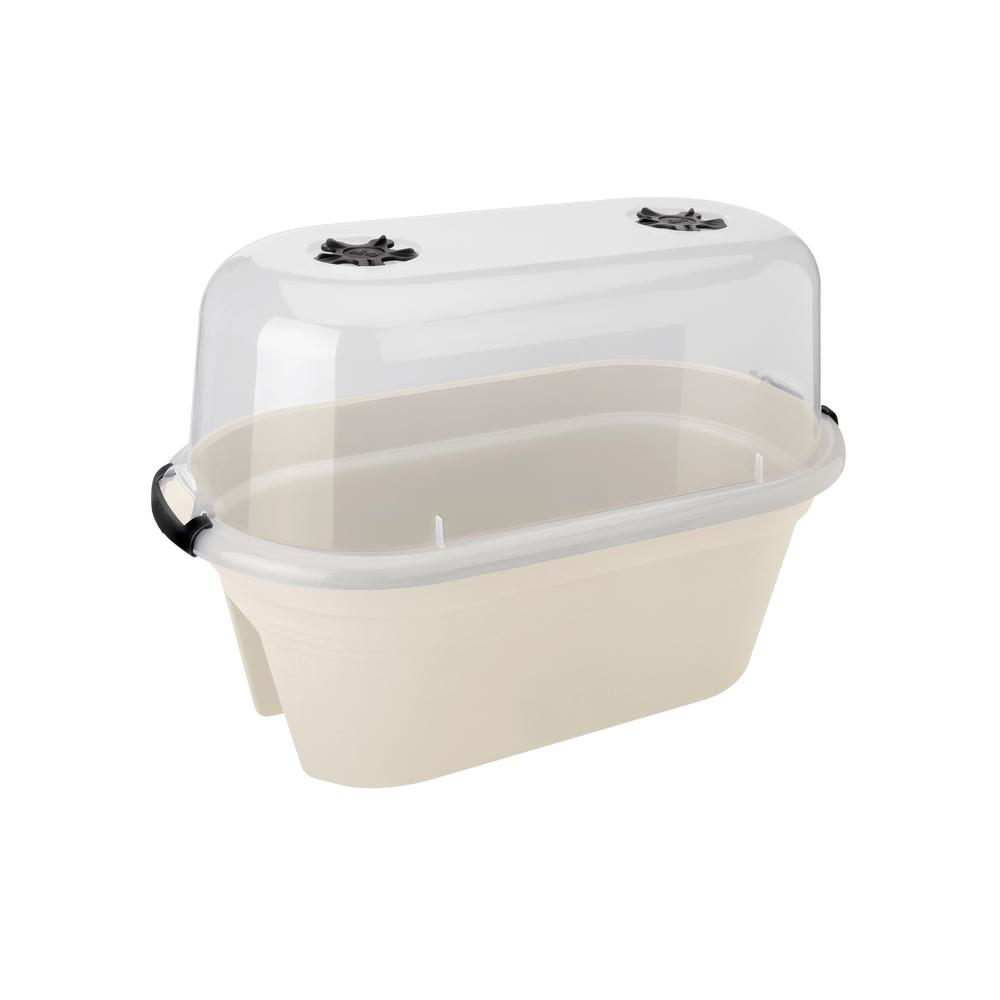 22 in. Cotton White Plastic Oval Planter with Cover